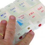 Deluxe AM/PM Weekday Pill Dispenser with Push Button Release-0